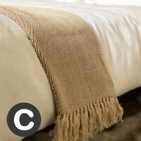 Luxury 100% Cotton Natural Beige Herringbone Throw Blanket Bed Sofa Large Fringe