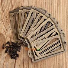 12Pcs Retro Antique Brass Metal Label Pull Frame Handle File Name Card Holder