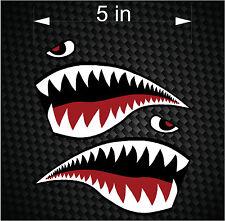 """Pair of 5"""" Fighter Flying Tigers Shark Teeth Mouth w/ Eye Die-cut Vinyl Decals"""