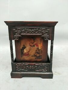 Chinese Noble Painting Belle square Shape Rosewood Carved FU Character Brush Pot