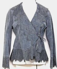 Newport News Jacket 6  Gray Suede  Self Perforated Lace Solid Wrap Front Lined