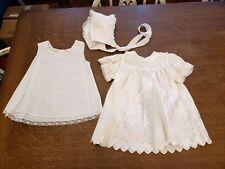 3 pc bonnet dress slip 6-9 months Vtg Baby Baptism Christening Dress Gown USA