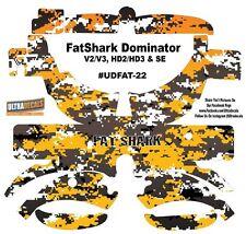 FatShark Dominator V2 V3 HD2 HD3 Skin Wrap Decal Fat Shark Yellow Camouflage