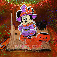 DISNEY WITCH MINNIE WOODEN HALLOWEEN DECORATION table decor black cat rare 8""