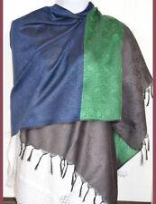 Banaras Silk Black Blue Woven Floral Paisley Design Shawl, Wrap, Stole Fringes