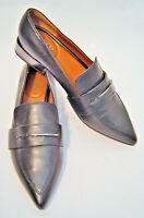Franco Sarto Dress Shoes Wynne Black Leather Pointed Toe Copper Heel Loafers 8M