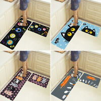 2Pcs Kitchen Floor Carpets Non-Slip Area Rug Bathroom Entrance Home Door Mat Set