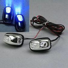 2x Blue LED Light Windscreen Washer Water Jets 12V Car