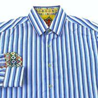 Robert Graham Mens Size M Blue White Striped Flip Cuff Long Sleeve Shirt