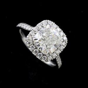 Cushion Halo Diamonds Modern Contemporary Engagement Ring Setting Platinum 950