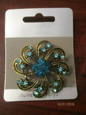Ladies Brooch Turquoise  Blue Round Flower Brooch with Glass Crystal Detail