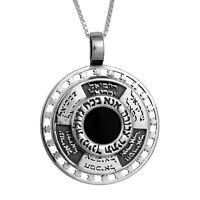 Pendant Kabbalah Names of 12 Angels & Ana Bekoach w/ Onyx Sterling Silver Amulet