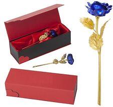 BLAU Goldene Rose Gold Valentinstag Geburtstag Hochzeitstag Ewige Liebe Geschenk