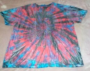 "Mens Premium 100% cotton Tie Dye T-shirt - ""Red/Black/Blue spiral"" size XL, new."