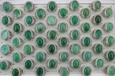 Newest Wholesale Lots 6pcs Mixed Green Agate Rings Men's Alloy Cool Jewelry
