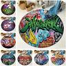 Urban Retro Graffiti Wall Design Round Floor Mat Bedroom Living Room Area Rugs