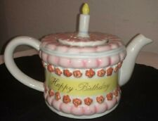 Vintage Happy Birthday Cake and Candle Top Tea Pot Pink Flowers