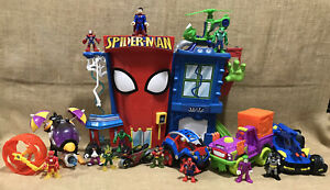 Lot of Imaginext Playskool Marvel Spider-Man Stunt City Superman Hulk Batman