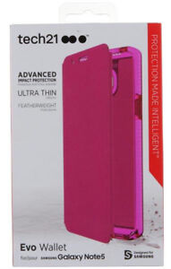 Tech21 PINK EVO WALLET MAGNET FLIP CASE STAND FOR SAMSUNG GALAXY NOTE 5