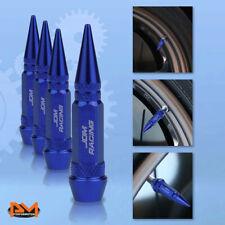 4 Pcs Blue Aluminum Tires Stem Caps 60mm Spiked Lug Nug Wheel Air Valve Cover