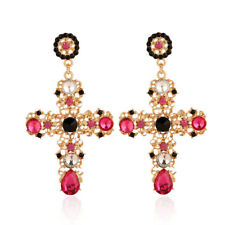Vintage Crystal Cross Drop Earrings for Women Baroque Large Long Earring Jewelry