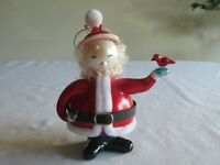 "Santa Claus with Red Bird Christmas Tree Ornament Round Head 5.25"" Table Decor"