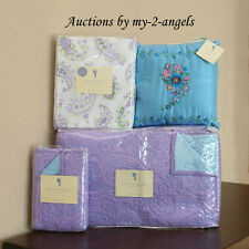 NEW Pottery Barn Kids Lavender Paisley Twin Quilt+Sham+Sheet+Deco Pillow 6pc Set