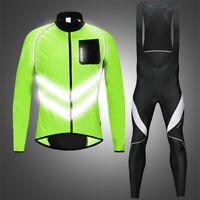 Men's Cycling Sets Windproof Reflective Jacket Gel Padded Bib Tight Pants Suits