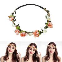 Women Adjustable Flower Crown Headband Floral Hair Wreath Garland Bride Wedding