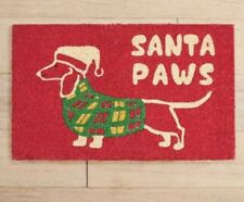 Pier 1 Imports Christmas Santa Paws Red Dog Doormat New