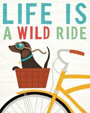 DACHSHUND SHORT SMOOTH HAIRED Retro Art Poster Print - Daxi Life is a Wild Ride