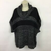 Coldwater Creek Medium sweater cowl neck black knit short sleeved pullover