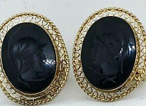 Vintage Cufflinks Black Onyx Soldier Cuff Links