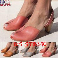 Women Fashion Thick Kitten Heel Sandals Retro Peep Toe Ankle Strap Vintage Shoes