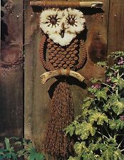 Vintage Drift Wood Owl Pattern & More in Macrame Back to Basics #912 Craft Book
