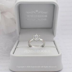 1ct Classic Diamant Solitär Verlobungsring Sterling Silber Platin Finish