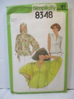 """Simplicity Pattern 8348 Miss Size 12 Bust 34"""" Blouses Sleeve Variations Uncut"""