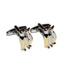 Silver & Gold Penguin Cufflinks & Gift Pouch Enthusiast Gift Zoo Animal New