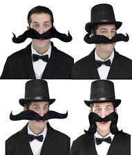 """Jumbo 20"""" noir souple pliable moustache hey moustache blague costco fancy dress"""