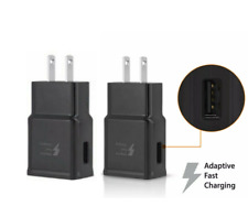 2x Adaptive Fast Rapid 2A Wall Plug Charger For Samsung HTC LG Android Black