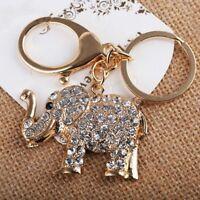 Elephants Key Chain Bag Pendant Rhinestone Holder Charm Handbag Key Ring Women