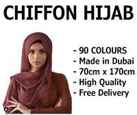 CHIFFON SCARF HIJAB SOFT HIGH QUALITY SARONG SHAWL MAXI PLAIN WRAP GEORGETTE