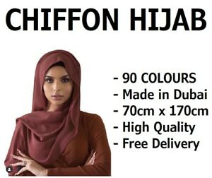 CHIFFON SCARF HIJAB SOFT HIGH QUALITY SARONG SHAWL MAXI PLAIN WRAP GEORGETTE