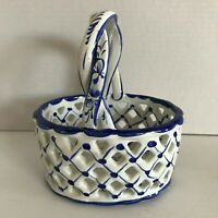 Ceramic Reticulated Basket Blue and White Hand Painted with Handle