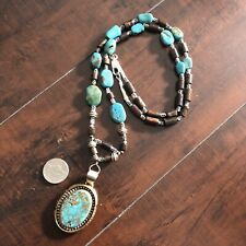 Vintage Navajo Sterling Silver Necklace Turquoise Pendant