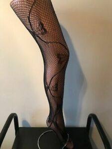 """LACE TIGHTS BOW PATTERN ONE SIZE SUPER STRETCH SIZE 34"""" -42 """" HIPS (10-18)"""