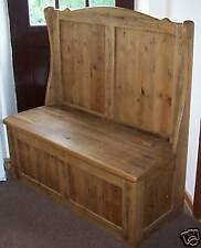 46 inch Solid Rustic Old Wood Monks Bench / Settle With Storage MADE TO ANY SIZE