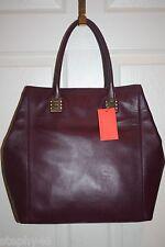 NEW! NWT! CLAUDIA CIUTI Plum Purple Leather STELLA Large Shoulder Tote Bag $325