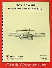 """DELTA-ROCKWELL 8"""" Jointer Instructions & Parts Manual 0248"""