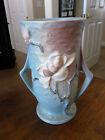 "Roseville Magnolia Blue - Footed Two Handle Vase - 89 - 7 3/8"""